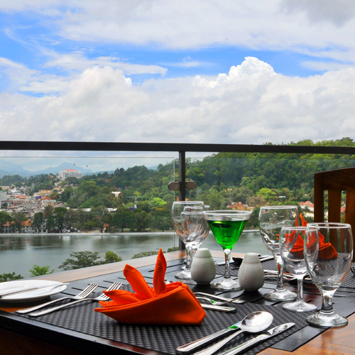 Outdoor Dining Area with Kandy Lake View