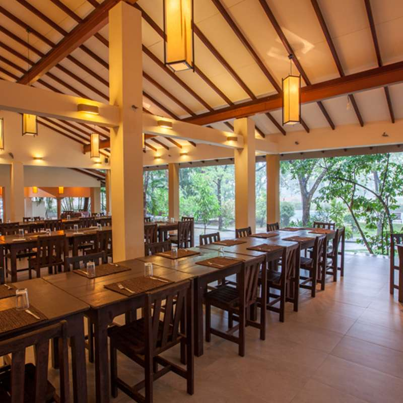 Interior of the Restaurant at Pelwehera Village Resort Dambulla